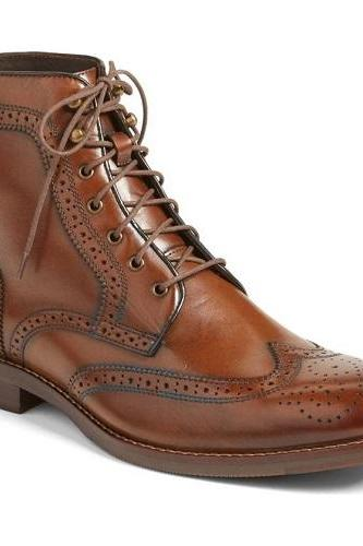 New Handmade Men Brown Wingtip Brogue Lace Up Boots, Men Ankle Leather Boot, Mens Boots