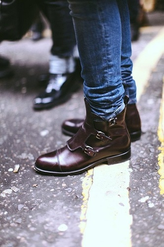 New Handmade Men Triple Buckle Ankle Boots, Men Monk Boots, Men Ankle Boots