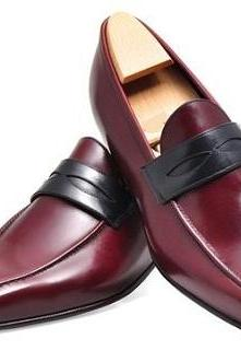 New Handmade Mens Leather Shoes, Men Burgundy Genuine Leather Moccasins, Mens shoes
