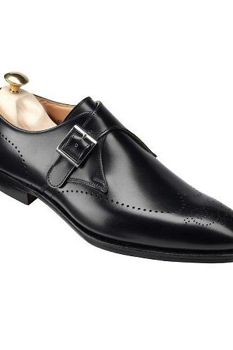 New Handmade Men Formal Leather Shoes, Men Black Monk Shoes, Men Dress Shoes