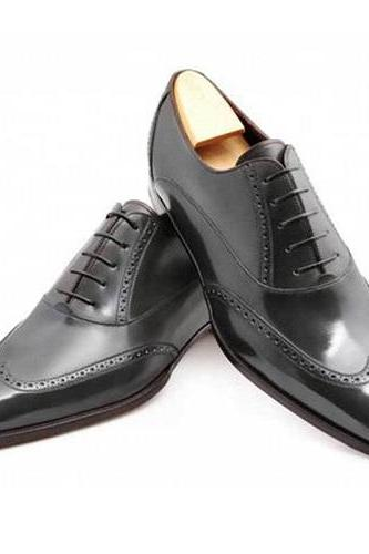 New Handmade Men Wingtip brogue formal shoes Men black leather dress shoes Men shoes