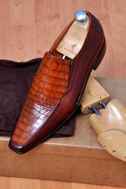 New HANDMADE MENS FASHION MOCCASIN TWO TONE LEATHER SHOES, MEN SLIP-ON LEATHER SHOES