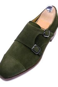 New Handmade men dress suede leather oxford double monk shoes,Men Hunter green shoes