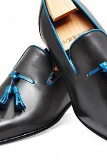New Handmade mens shoes, Mens black Tassels leather shoes, Men dress leather shoes