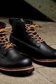 New Handmade men genuine leather boots, Mens Black ankle high leather boots