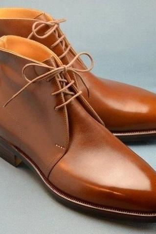 Handmade Mens fashion Tan color Chukka boots Men tan leather lace up ankle boots