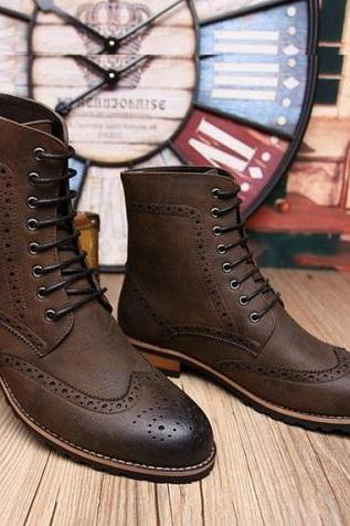 New Handmade men brown lace up boot, Men brown high ankle Combat boot, Military boot