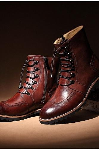 New Handmade men lace-up ankle high leather boot, Men leather boots, Men brown boot