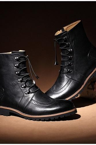 New Handmade men lace-up ankle high leather boot, Men leather boots, Men Black boot