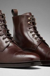 Handmade men dark brown formal boot, Men lace up ankle leather boots, Boot for men