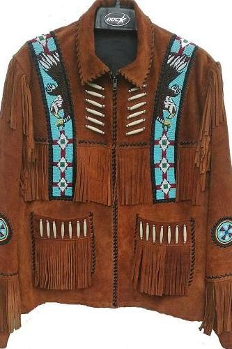 Handmade Cowboy Western Wear Suede Leather Jacket Beads American Fringe Jacket