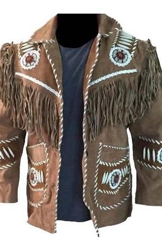 Handmade Mens Cowboy Suede Leather Jacket Western Coat Fringes Beads American 80