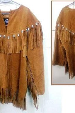 Handmade Men's Cognac Fringes Style Western Wear Suede Leather Native Jacket US