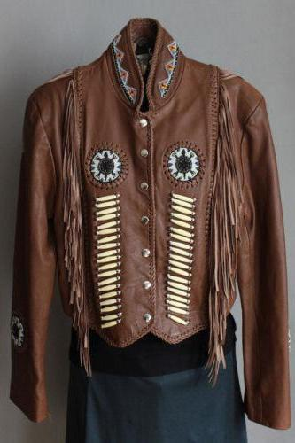 Handmade Men's Brown Western cowboy Leather coat With Fringed Bones & Bead