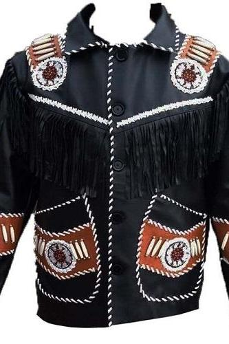 Handmade Men Black Leather Fringe Native American Western Cowboy it jacket
