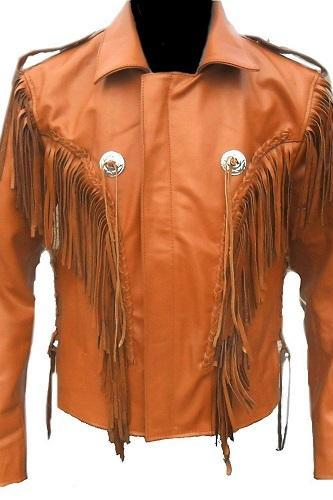 Western Wear Jacket Unique Men Cowboy Leather Jacket Fringe Native American Coat