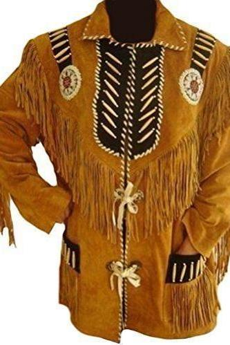 Handmade Men's Tan Buckskin Suede Leather Jacket Native American Fringes & Beads