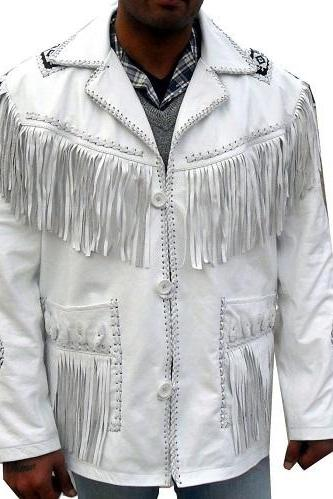 Handmade Men White Western Suede Leather Jacket Handmade Cowboy Fringe Beads