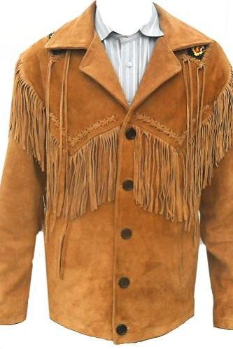 Handmade Mens Western Wear Suede Leather Jacket Cowboy Fringe American Leather