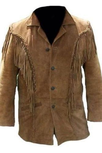 Handmade Western Suede Leather Cowboy Tan Fringe Native American Beads Jacket