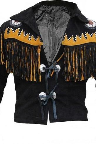 Handmade Men's New Western Suede Leather Wear Cowboy Black Native American