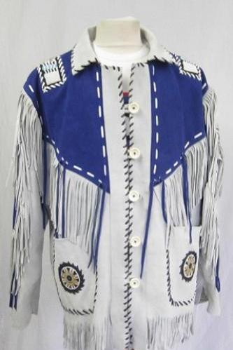 Handmade Men's Western Suede Leather Wear Cowboy Blue Native American