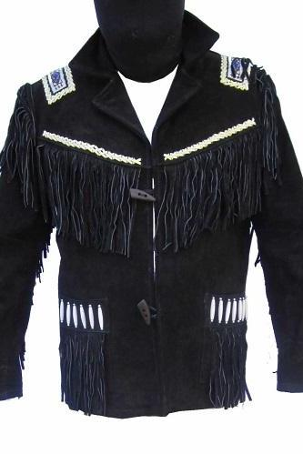 Handmade Western Style Beads Fringe Genuine Suede Leather Jacket American Style