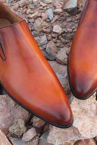 Men Tan Handmade brown leather shoes moccasins, Custom Made Men leather shoes
