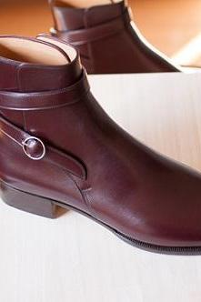 Handmade Men Maroon Jodhpurs Ankle Genuine Leather Boots, Leather Ankle boots for Men