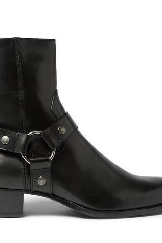 handmade Men Black High Ankle Zipper Genuine Leather Custom Made Boots
