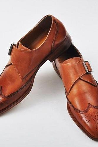 Handmade New Men Brown Single Monk Strap Genuine Leather Custom Made Shoes