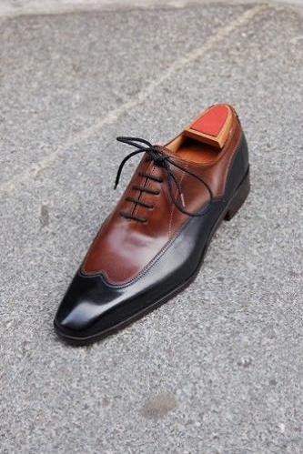 New Handmade Men Brown And Black Two Tone Formal Shoes, Men Dress leather shoe