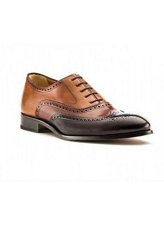 New Brown Handmade leather Men Lace up Oxfords custom leather Two Tone shoe