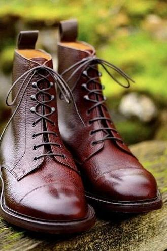 Handmade Men's New Pure Burgundy Shaded Leather Ankle Boots, Mens leather long boots