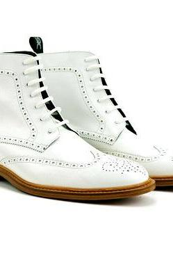 Men's Best Handmade Derby Style Real Genuine White Leather Wing Tip High Ankle Lace Up Boots