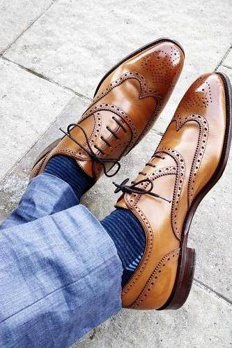 New Handmade Men's Tan Leather Lace up Brogue Dress Shoes, Men Brown Shoes