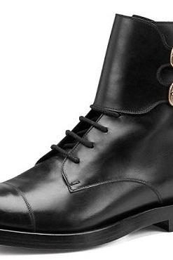 Handmade Men Black Ankle Double Monk Military Genuine Leather Boots