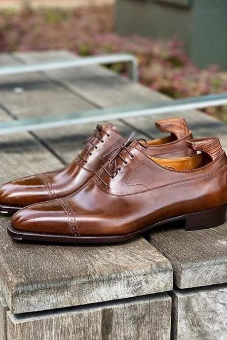 Handmade Best Medium Brown Leather Shoes for Men, Men's Cognaca Formal Shoes