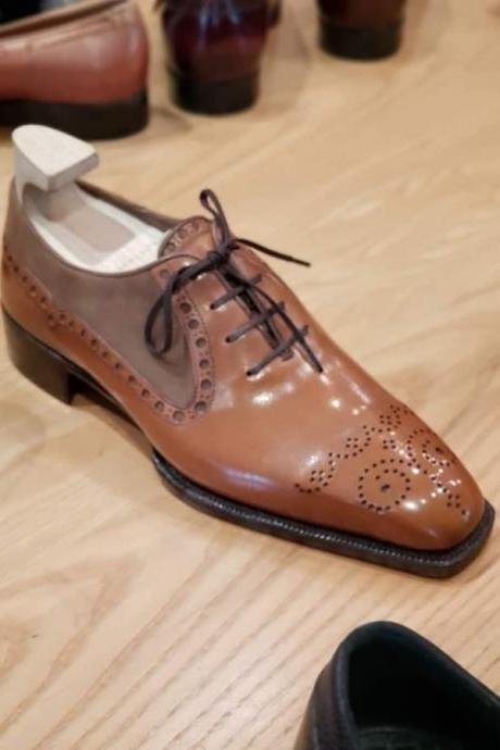 Oxfords Leather Handmade Men's Cognac Brown Oxfords Shoes