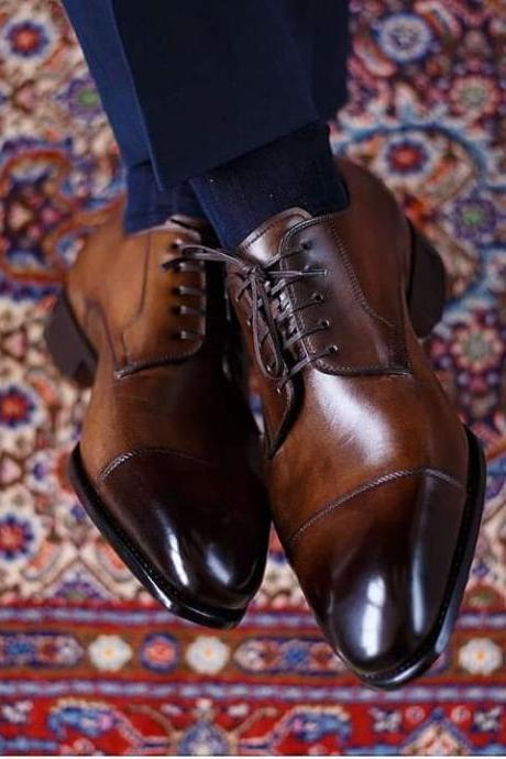 Handmade Leather Brown Patina Men's Shoes oxfords , Men's formal shoes