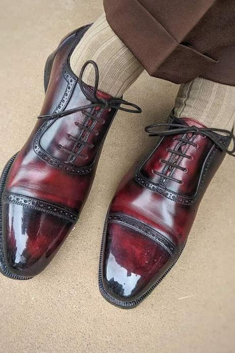 Handmade Ox Blood Men's Leather oxfords Shoes, Ox Blood Leather formal shoes