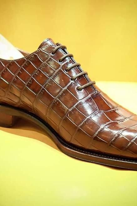 New handmade men's best Crocodile leather shoes best leather formal shoes