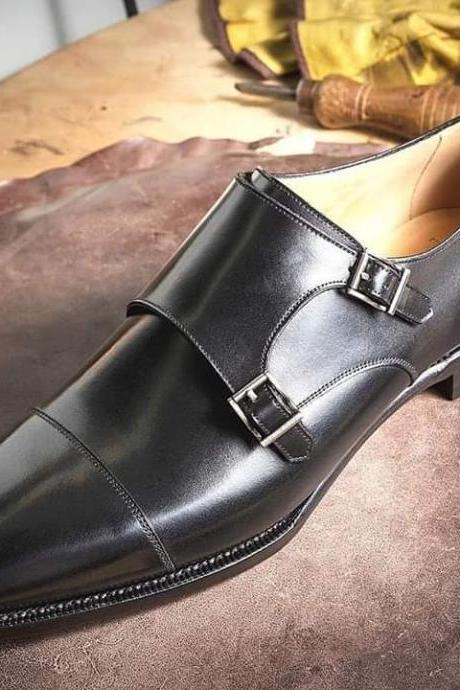 handmade men's black double monk strap leather dress shoes, Best formal leather shoes for men