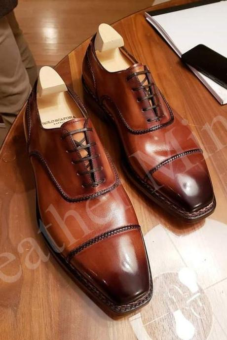 Handmade Men's Tan Oxfords Leather Shoes, Best Formal Tan Oxfords Shoes for men