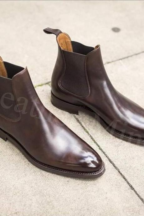Men's Handmade Chelsea leather boots, Best Chelsea Leather Formal Boots for men