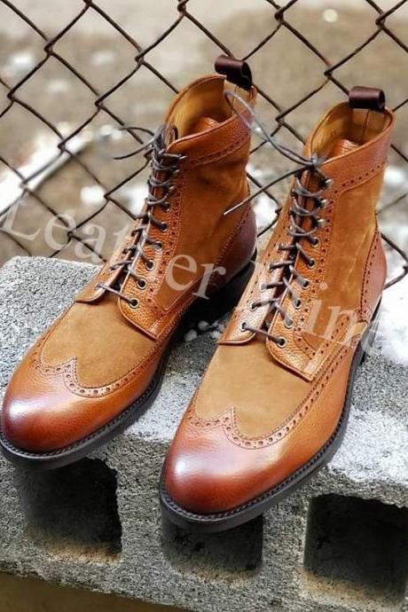 Men's Handmade tan leather boots, Best Men's tan Leather Boots for men