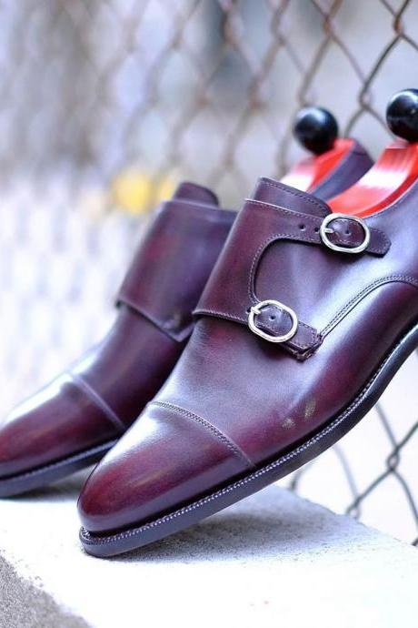 Best Handmade Men's Leather Purple Dress Formal Custom Made Shoes For Men