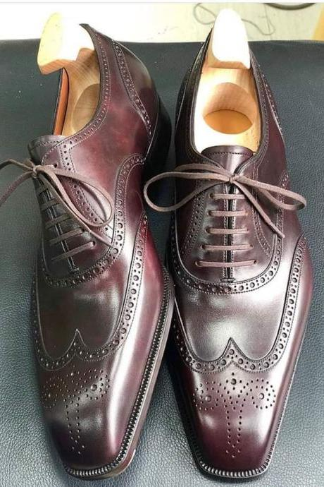 Handmade Men's Best Ox Blood Brogue Oxfords Leather Dress Formal leather Shoes