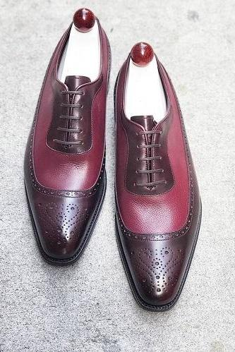 Best Handmade Two Tone Lace up Dress Formal Custom Made Shoes For Men
