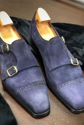 Best Double Monk Strap Suede Leather Shoes